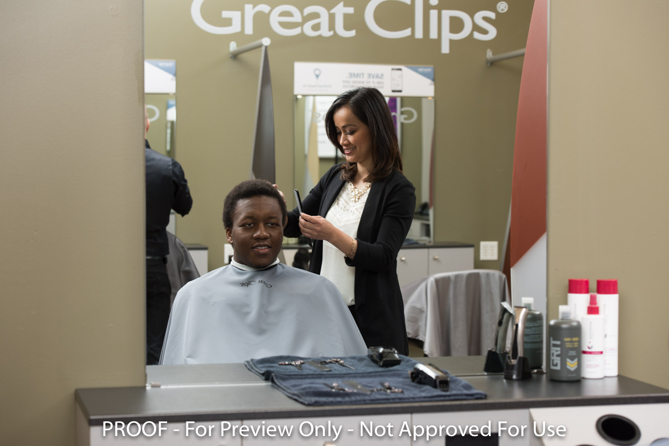 Customer getting a haircut at Great Clips
