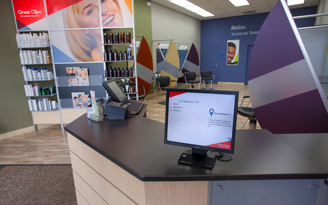 Great Clips Salon Interior, Front desk and product shelves