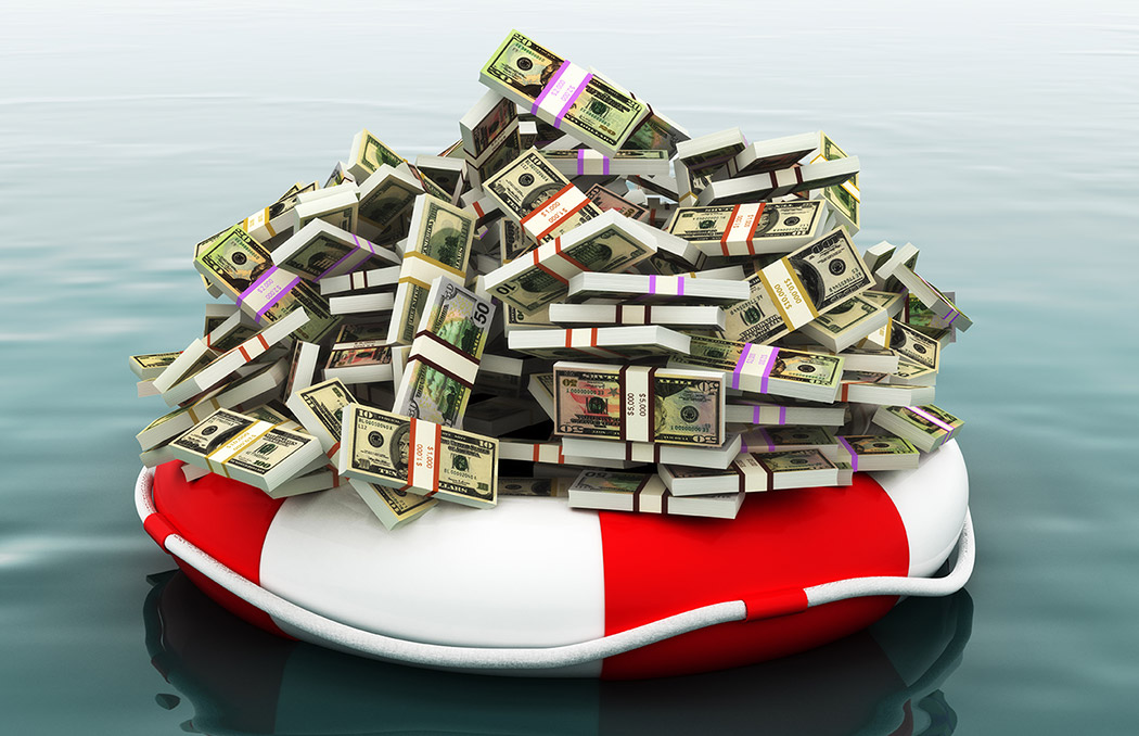 money on a life raft