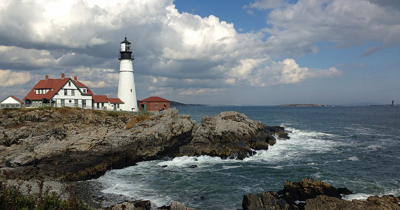 Lighthouse on the coast in Maine